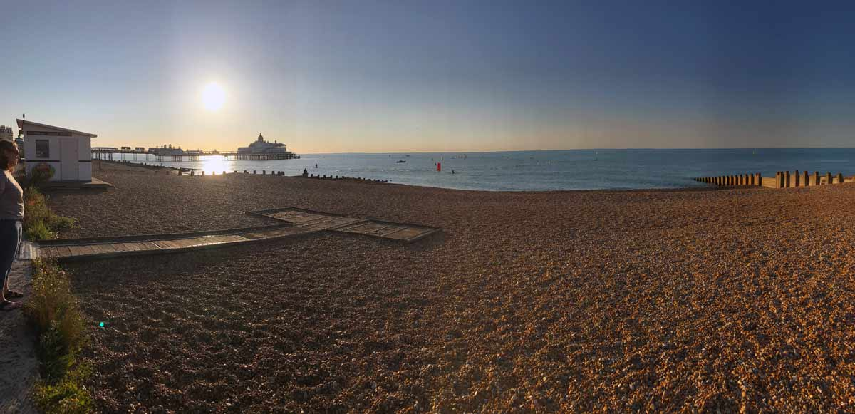 The open sea swim starts… with a jump off the end of Eastbourne's historic pier, one of the most iconic starts on the triathlon calendar.
